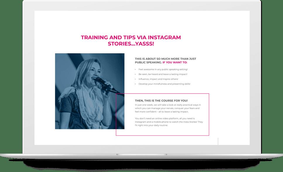 A #BossPublicSpeaking Instagram Course – Meet Anna